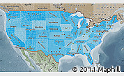 Political Shades Map of United States, semi-desaturated