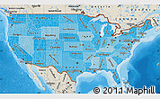 Political Shades Map of United States, shaded relief outside, bathymetry sea