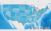 Political Shades Map of United States, single color outside