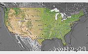 Satellite Map of United States, desaturated