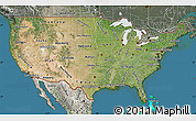 Satellite Map of United States, semi-desaturated, land only