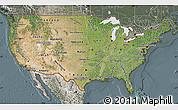 Satellite Map of United States, semi-desaturated