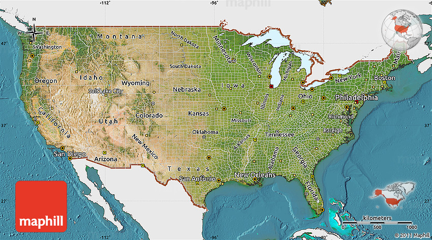 Satellite Map of United States, single color outside on
