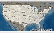 Shaded Relief Map of United States, darken