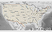 Shaded Relief Map of United States, desaturated