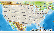 Shaded Relief Map of United States, physical outside