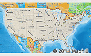 Shaded Relief Map of United States, political outside, shaded relief sea