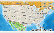 Shaded Relief Map of United States, political shades outside, shaded relief sea
