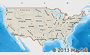 Shaded Relief Map of United States, single color outside