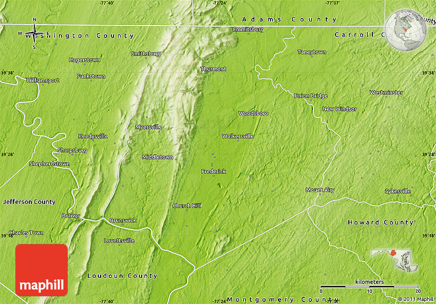 Physical Map of Frederick County