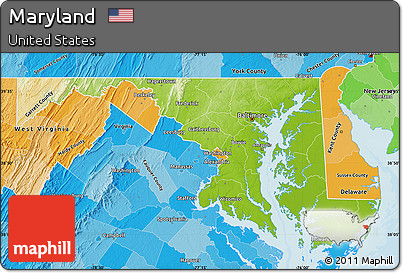 Free Physical Map Of Maryland Political Shades Outside - Physical map of maryland