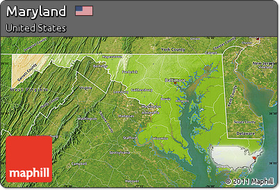Free Physical Map Of Maryland Satellite Outside - Physical map of maryland