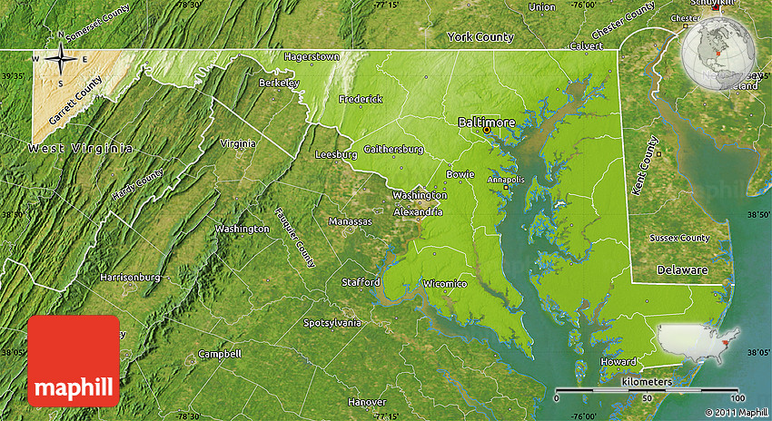 Physical Map Of Maryland Satellite Outside - Physical map of maryland