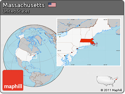 Free Gray Location Map Of Massachusetts Highlighted Country - Us map massachusetts highlighted