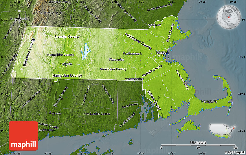 Physical Map Of Massachusetts Darken - Massachusetts physical map