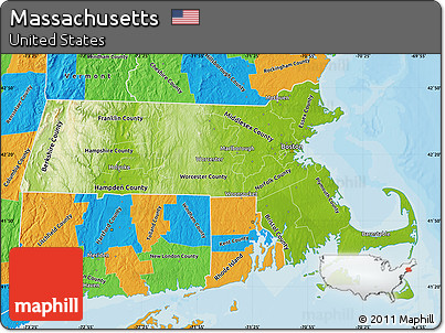 Free Physical Map Of Massachusetts Political Outside - Massachusetts political map