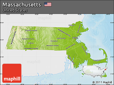 Free Physical Map Of Massachusetts Single Color Outside - Massachusetts physical map