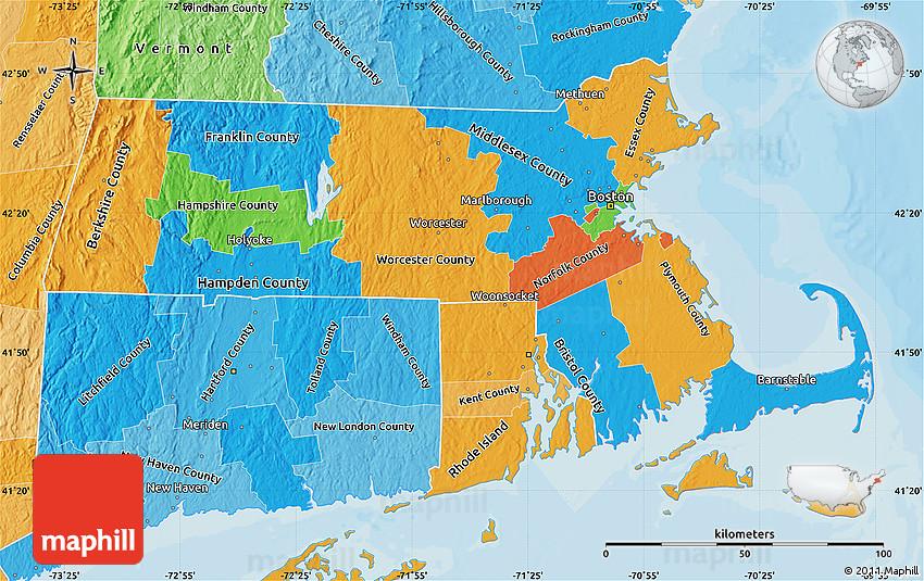 Political Map Of Massachusetts Political Shades Outside - Massachusetts political map