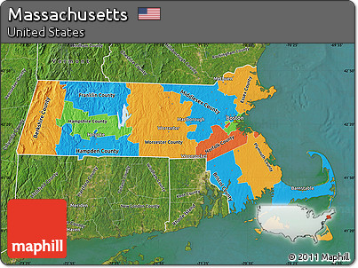 Free Political Map Of Massachusetts Satellite Outside - Massachusetts political map