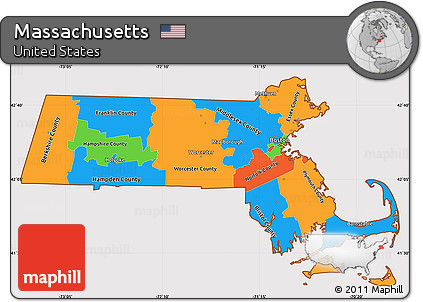 Free Political Simple Map of Massachusetts cropped outside