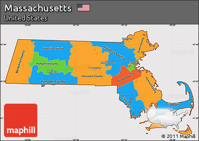 Free Political Simple Map Of Massachusetts Cropped Outside - Massachusetts political map