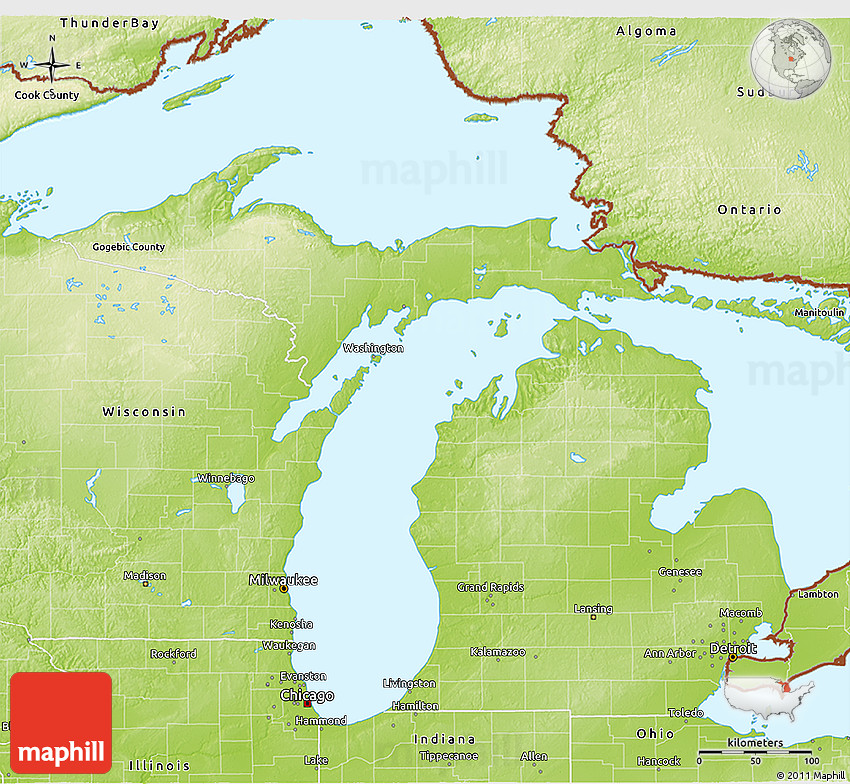 Physical 3D Map of Michigan