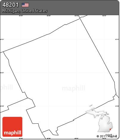 48201 Zip Code Map.Free Blank Simple Map Of Zip Code 48201