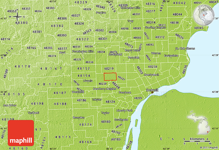 Physical Map of ZIP Code 48223
