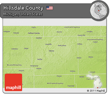 Hillsdale County Michigan Map.Free Physical 3d Map Of Hillsdale County