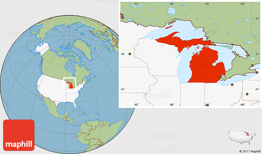 Savanna Style Location Map of Michigan highlighted country