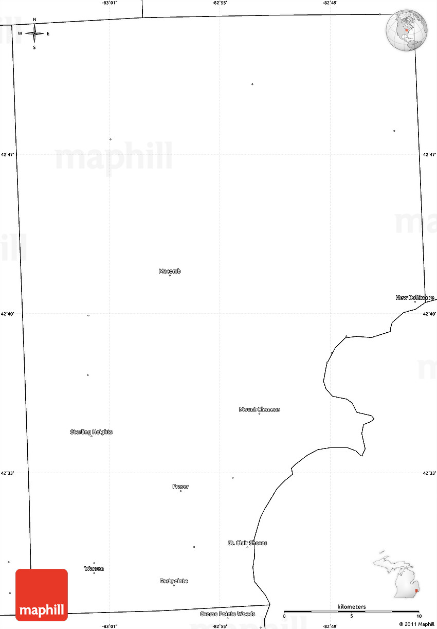 Blank Simple Map Of Macomb County