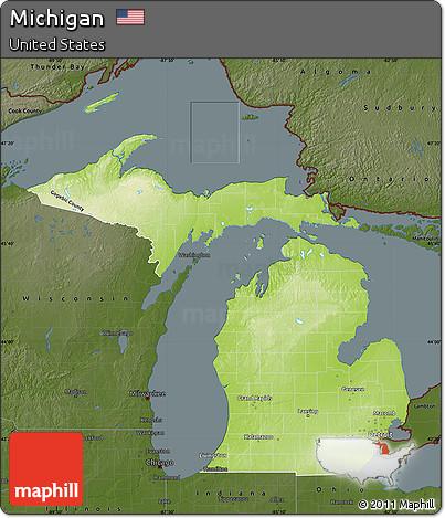 Free Physical Map Of Michigan Darken - Physical map of michigan