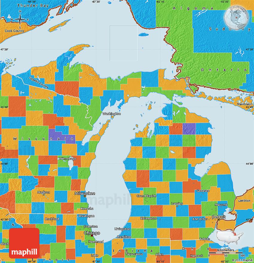 Thunder Bay Michigan Map.Political Map Of Michigan