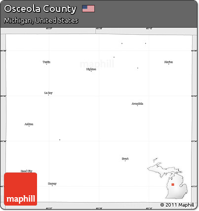 Silver Style Simple Map of Osceola County