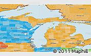 Political Shades Panoramic Map of Michigan