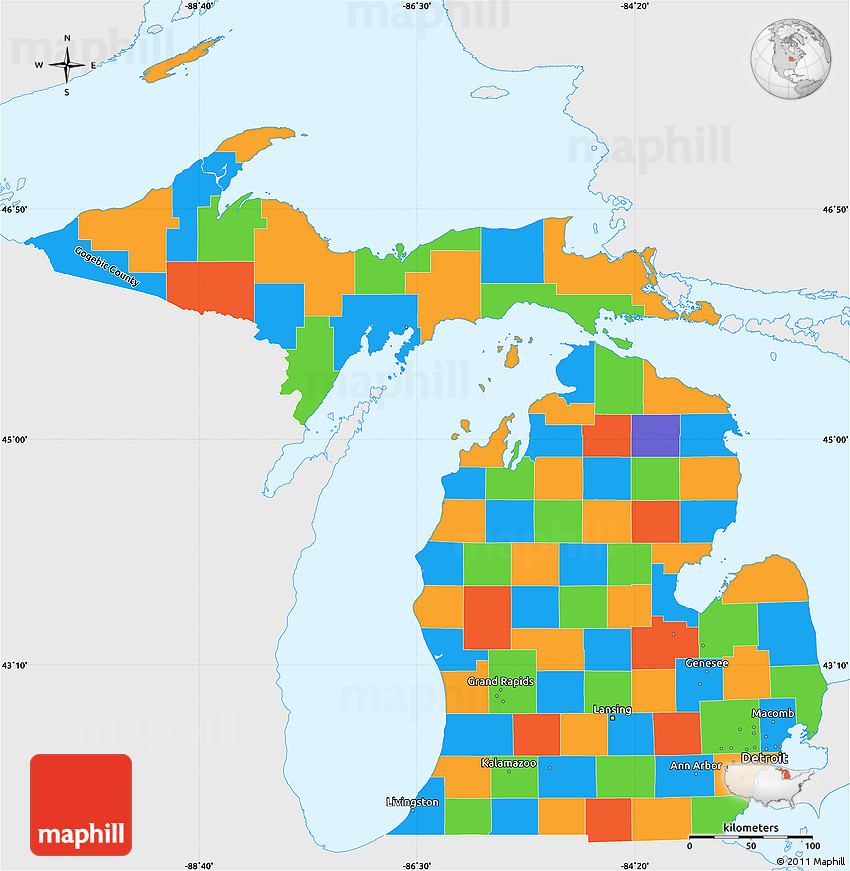 Michigan Political Map Political Simple Map of Michigan, single color outside