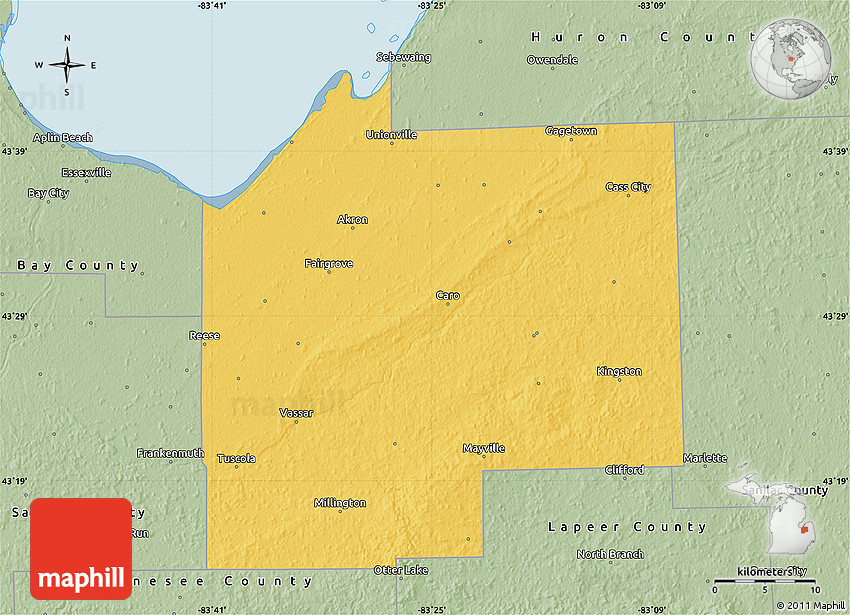 Savanna Style Map Of Tuscola County