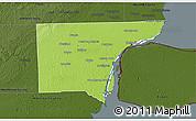 Physical 3D Map of Wayne County, darken