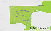 Physical 3D Map of Wayne County, single color outside