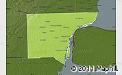 Physical Map of Wayne County, darken