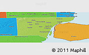 Physical Panoramic Map of Wayne County, political outside