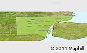 Physical Panoramic Map of Wayne County, satellite outside
