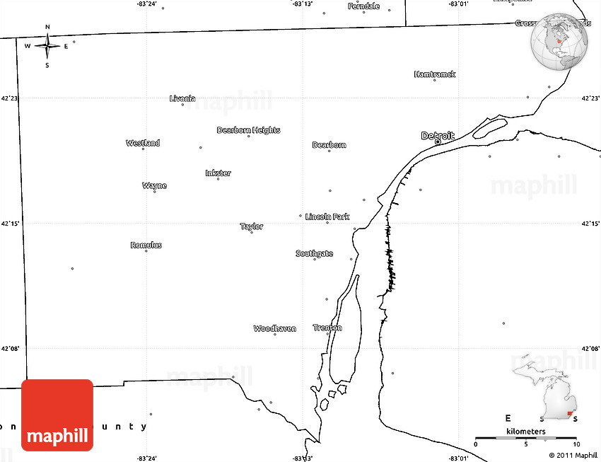 Blank Simple Map Of Wayne County