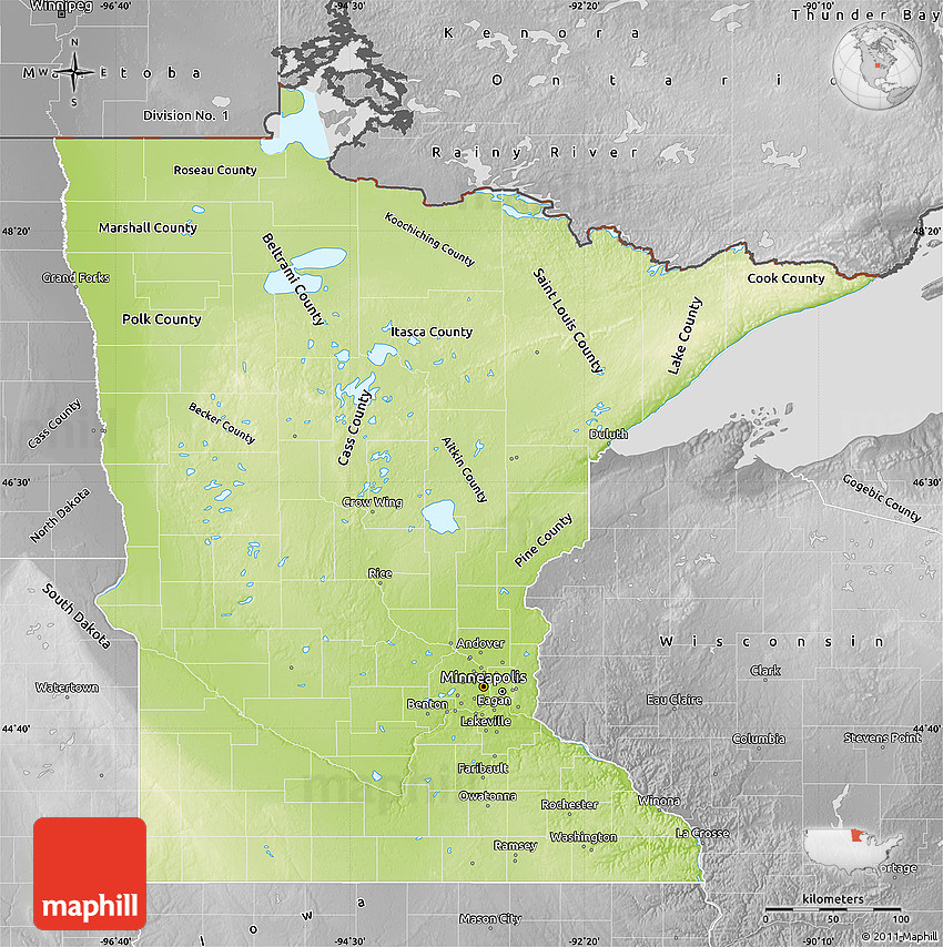 Physical Map Of Minnesota Desaturated