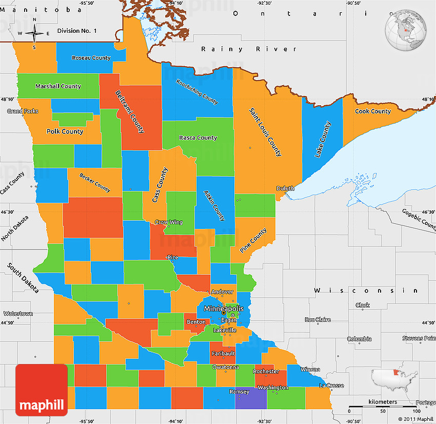 Political Simple Map Of Minnesota Single Color Outside Borders - Political map of minnesota