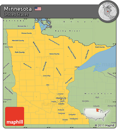 Free Savanna Style Simple Map Of Minnesota