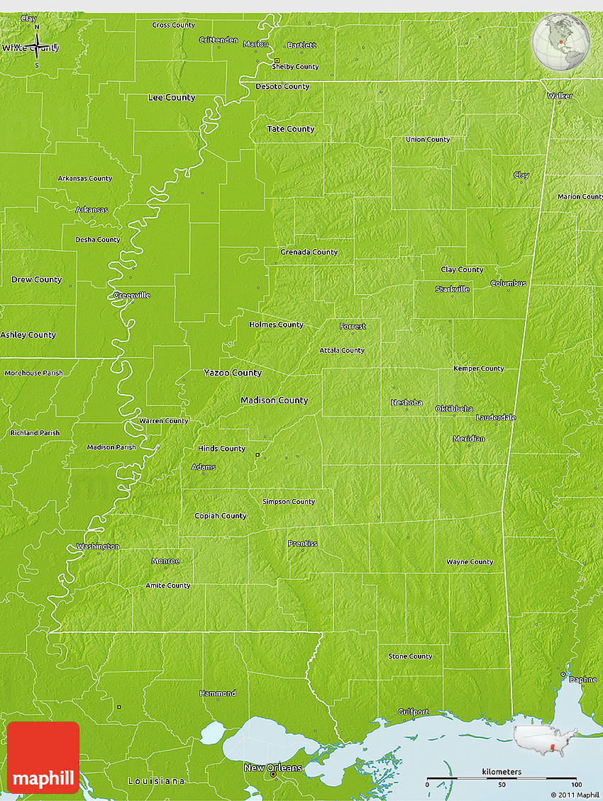 Physical 3d Map Of Mississippi