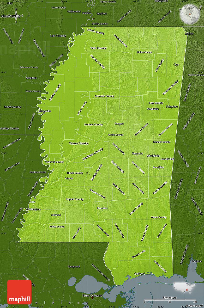 Physical Map Of Mississippi Darken