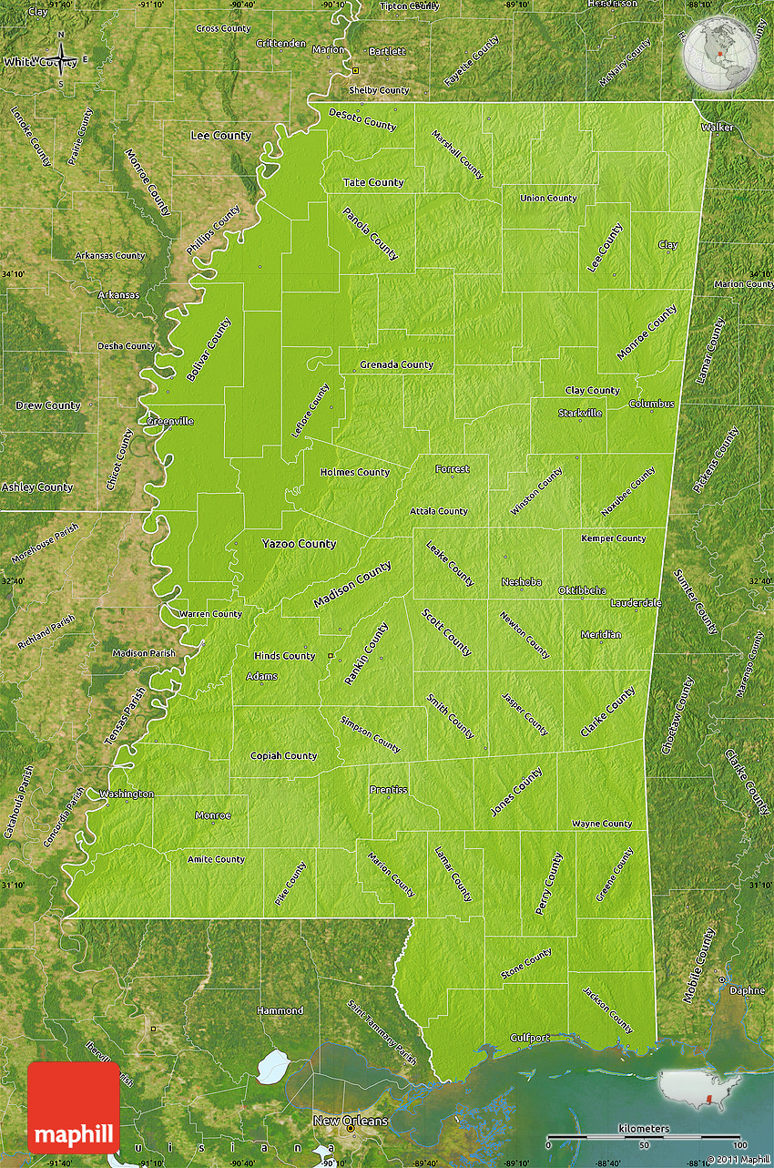 Physical Map Of Mississippi Satellite Outside