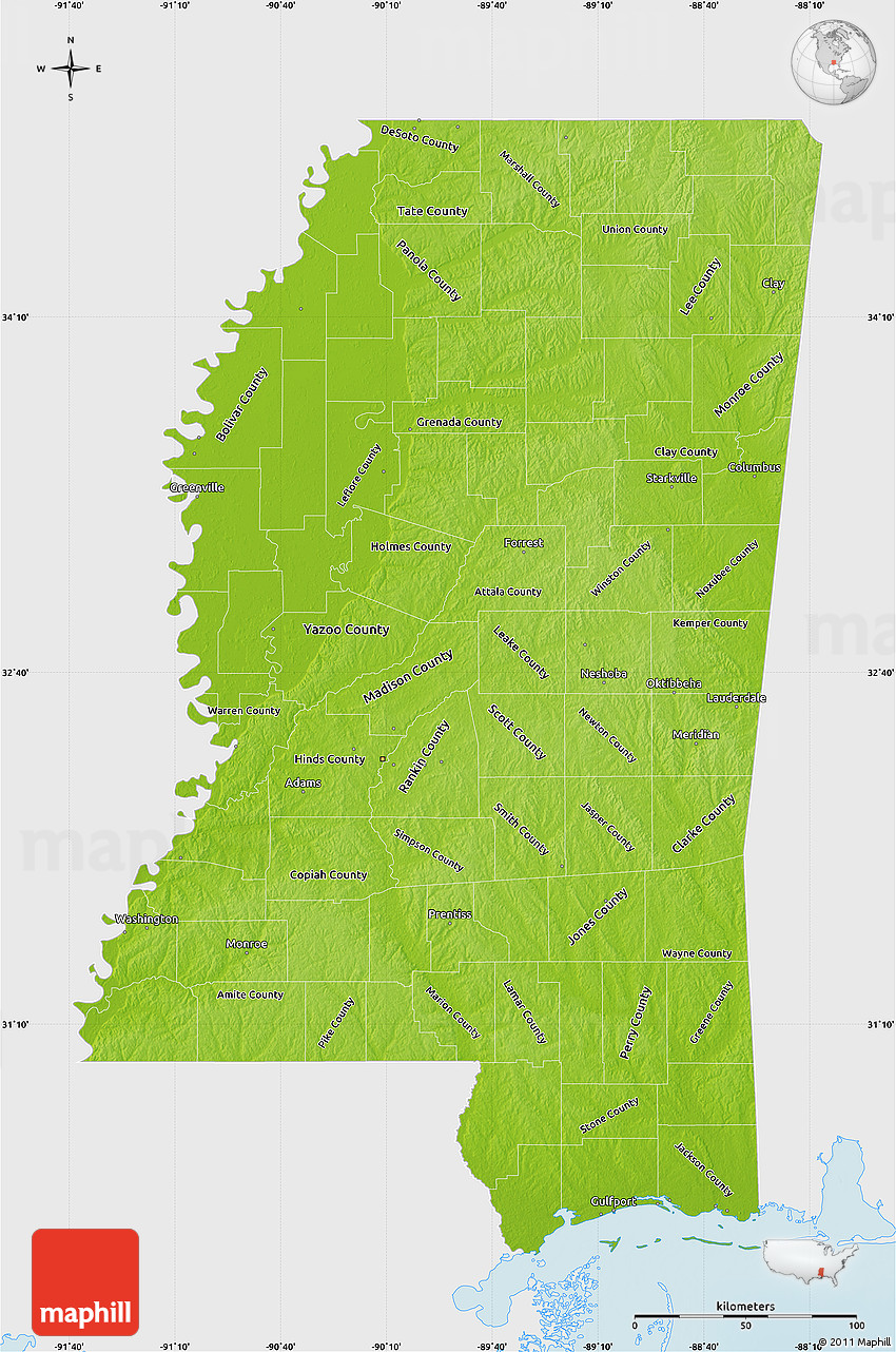 d . physical map of mississippi single color outside